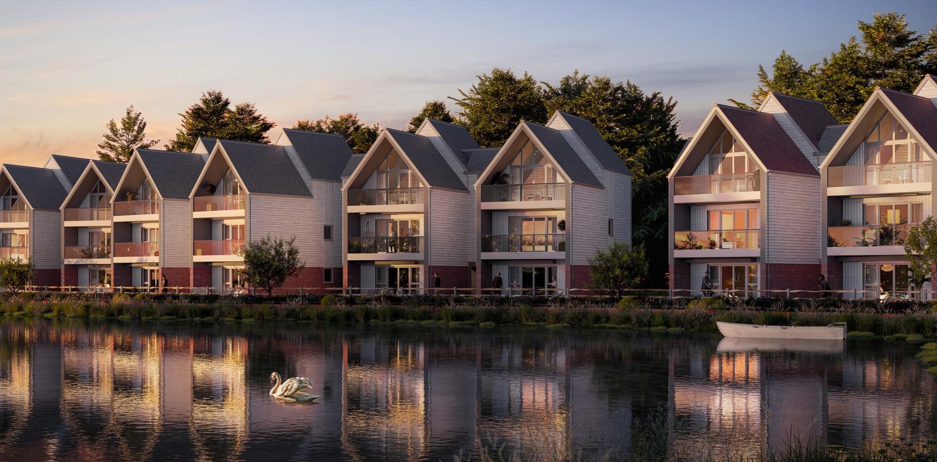 Waterfront homes at Conningbrook Lakes, Ashford