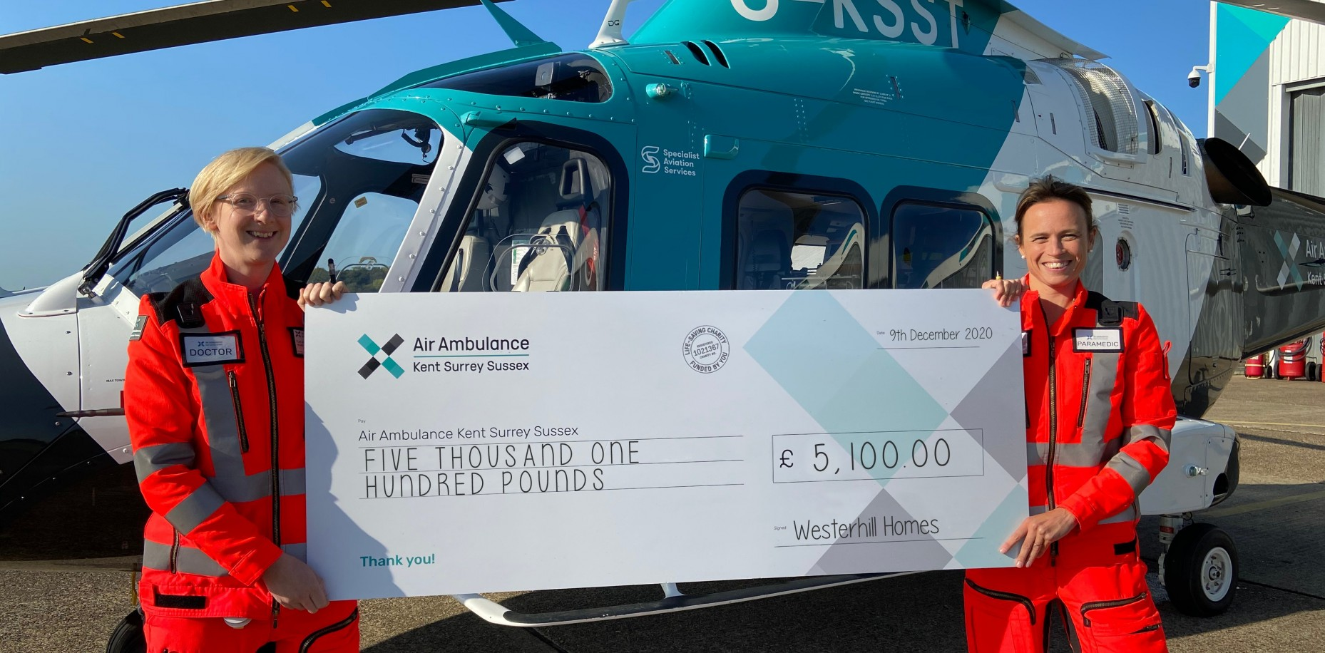 We are delighted to announce our latest donation to Air Ambulance Kent Surrey Sussex